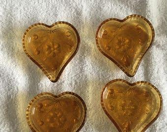 Indiana Tiara Amber Heart Candy Dish