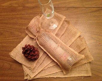 Burlap Wine Bags set of 6 plain