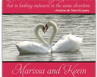 Wedding Labels Personalized Swan Heart with Quote Square Glossy Stickers