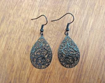 Black Waterdrop Earrings Black Earrings Evening Black Earrings Gift Earrings Boho earrings Filigree Earrings