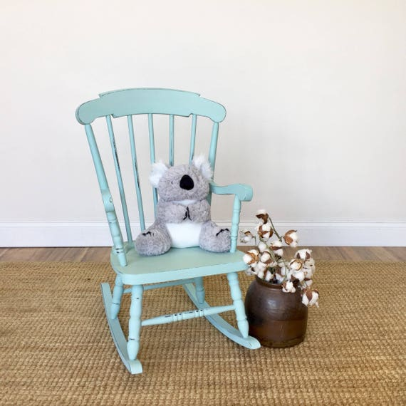 Blue Rocking Chair for Toddler of Kids Playroom - Painted Distressed Furniture for Country Cottage or Beach House Interior