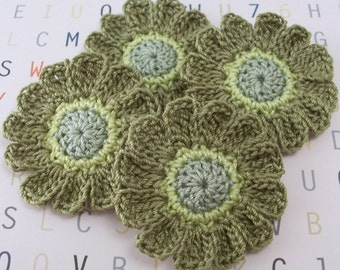 Crochet Green Flower Appliques - 12 Petal