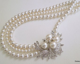 pearl necklace, pearl rhinestone necklace, Statement Bridal necklace, Wedding Rhinestone necklace, wedding necklace, bridal jewelry, JULIE