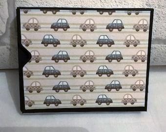 Baby Boy Cars Mini Hand made Journal / photo album /memory keeper with handmade box. Pocket book