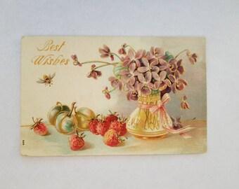 Best Wishes Vintage Postcard Embossed Violets in Vase with Fruit