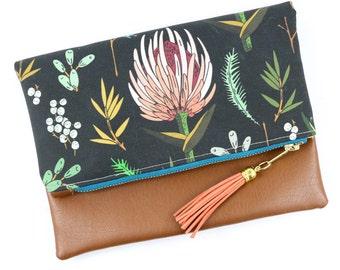 Boho Tassel Clutch in Nature Floral Print and Tan Vegan Leather and Gold zipper close