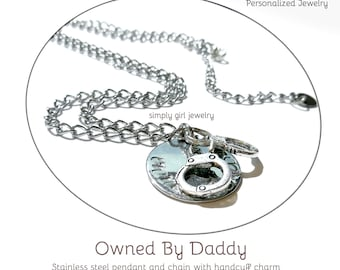 Owned Stamped Metal Handcuff Necklace BDSM necklace brass