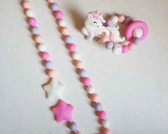 MOM and teether Unicorn necklace set