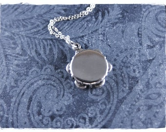 Silver Tambourine Necklace - Sterling Silver Tambourine Charm on a Delicate Sterling Silver Cable Chain or Charm Only