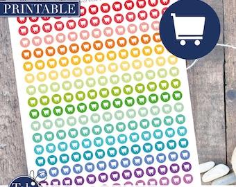 SHOPPING CART printable planner stickers.  Shopping cart 208 rainbow printable planner dot stickers for Erin Condren planner, Happy planner.