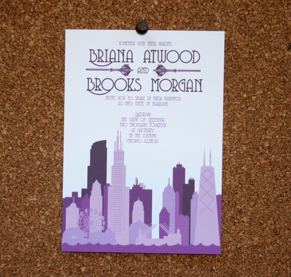 Personalized Skyline Wedding Invitations: Set Of 25 / Custom Chicago Skyline Invitation / Purple