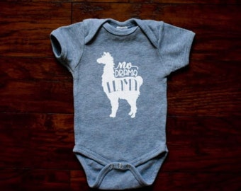 Baby Clothes, Llama Baby Bodysuit, Baby Shower Gift, No Drama Llama, Baby Boy Girl Clothes, Baby Bodysuit, Funny Baby Onesie