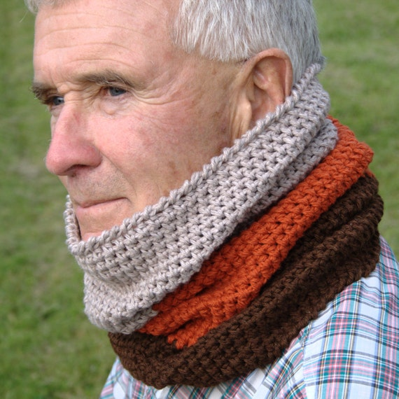 Crochet Pattern Mens Cowl Pattern Mens Crochet Cowl Scarf