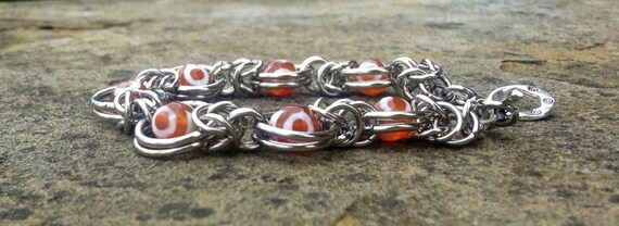 Orange Tibet Faceted Agate Chainmaille Bracelet