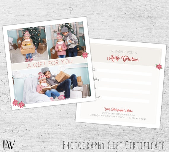 Christmas Gift Certificate Photoshop Template Photography