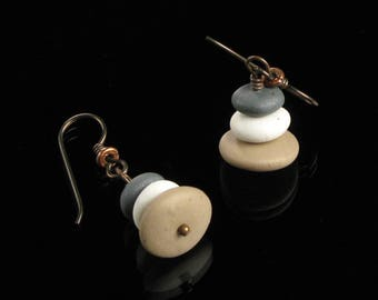 Pebble Cairn Earrings, Yoga Jewelry, Pebble Earrings, Rock Earrings, Stone Jewelry, Niobium Earrings, Buddhist Jewelry, Lightweight Earrings