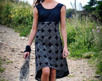 sleeveless black and white summer dress - hand block printed cotton