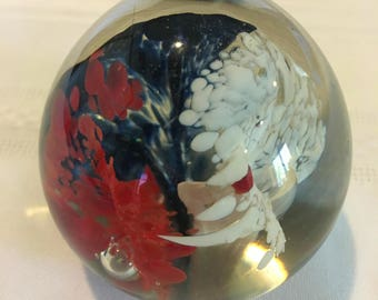 Patriotic Paper Weight, Patriotic Gifts, Paper Weight, Hand Blown Art Glass, Vintage Paper Weight, Vintage Art Glass