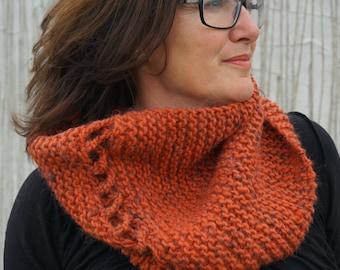 chunky knit wool infinity cowl scarf//orange