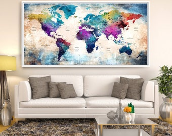 Large Wall Art Push Pin World Map, Push Pin, World Map, Wall Art Print, Push Pin Map, Navy Blue Wall Art, Pushpin World Map Print (L105)