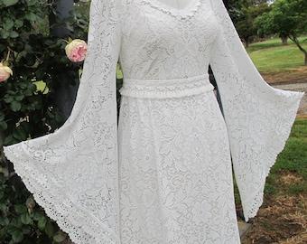 "CUSTOM FIT ""Georgie"" Vintage Lace Bell Sleeve Dress Cascading or Full Length Boho Wedding Dress  White Ivory Cream"
