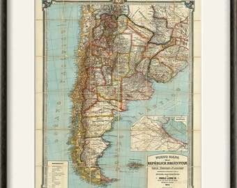 Argentina map print map vintage old maps Antique prints poster map wall home decor wall map large map old prints South America map