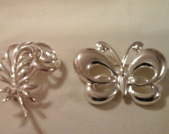 Butterfly & Feather Brooches