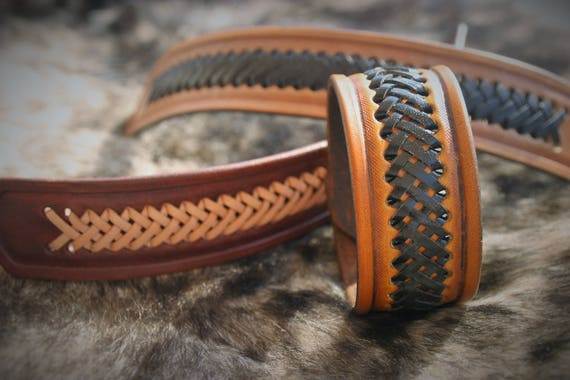 Leather bracelet, with leather laced knotwork, paganfolk style, western style, urban style