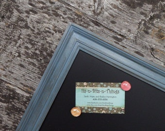 LARGE Magnetic Chalkboard Slate Blue Distressed Vintage Style Frame - Large Gray Magnetic Board - Slate Blue Grey Magnetic Board
