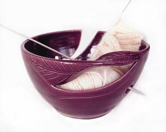 Yarn Bowl Knitting Bowl eggplant purple large odorless clean ceramic pottery holder organizer twisted leaf blueroompottery MADE TO ORDER