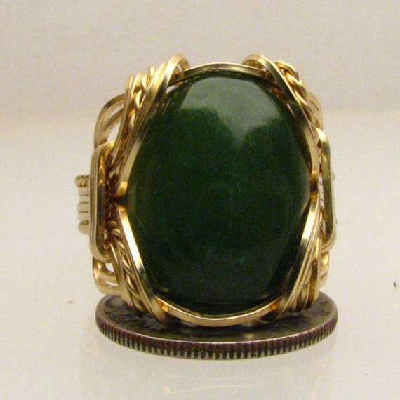 Artisan Handmade 14kt Gold Filled Wire Wrap Green Adventure Agate Gemstone Ring