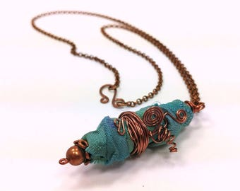 Fiber Art Pendant Necklace, Copper and Teal