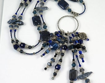 MAJOR MARKDOWN - Navy and Dark Cobalt Blue 10 Tasseled Hoop Center Piece on Fully Beaded Sodalite Stone and Pearl Statement Necklace