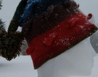 Lovely Stripey Pom Pom Stocking Cap