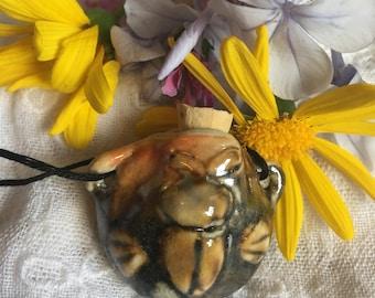 Shino beetle amphora/bottle/jar necklace