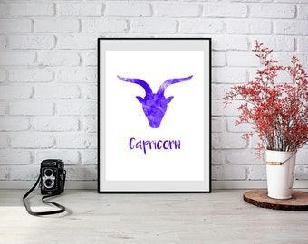 Capricorn zodiac printable, Capricorn print, Zodiac printable capricorn watercolor, zodiac watercolor, capricorn wall art, capricorn clipart