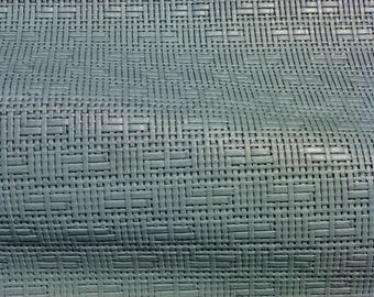 """Leather 12""""x12"""" Panama SAGE Basket Weave Embossed Cowhide 2-2.5 oz/0.8-1 mm PeggySueAlso™ E8000-04 Full hides available"""