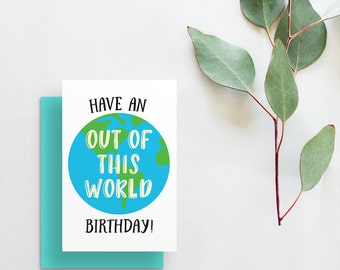 have an out of this world birthday card // fun modern birthday card // hand lettering // printed