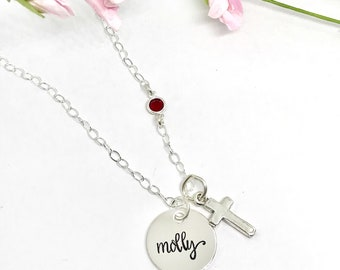 First Communion Gifts - Jewelry for First Communion - Catholic Women - Religious Gifts - Personalized Birthstone Necklace - Cross Jewelry