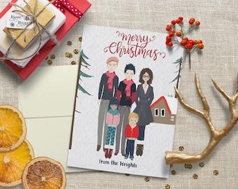 Custom Portrait Christmas Cards~Christmas Card~Family Christmas~Christmas Postcard~Christmas Photo Card~Custom Cards~Personalized Cards