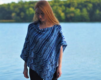 Ocean Current Poncho- Hand knitting pattern