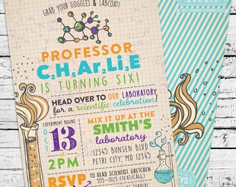Science Birthday Party Pack - Printable birthday invitation and party decor!