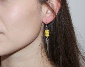 """Yellow Spear"" earrings"