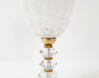 Adorable art deco 1920-1930's glass and brass lamp