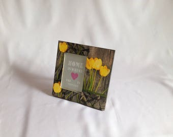 Wood deco Tulip yellow photo frame