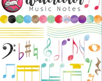 Watercolor Music Note Clipart, Accurate Music Notation Clip Art for Instant Download
