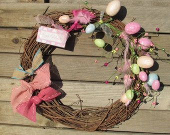 "18"" Easter Wreath- Easter Twig Wreath- Easter Grapevine Wreath-  Egg Hunt Wreath- Egg Grapevine Wreath- Grapevine Wreath- Egg Wreath"