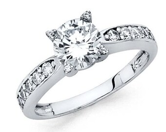 14k White Gold 1.50 Ct Diamond Engagement Ring Round Brilliant Cut Solitaire