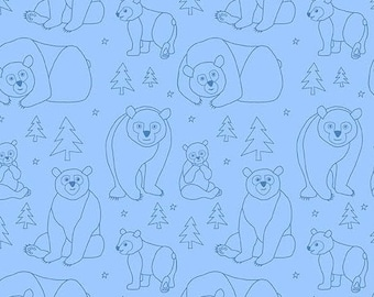 Brown Bear Doodles on Blue from Eric Carle's Beary Happy Collection from Andover Fabrics