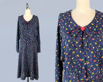 1920s Dress / 20s-30s Floral Cotton Day Dress / Deco Tulips